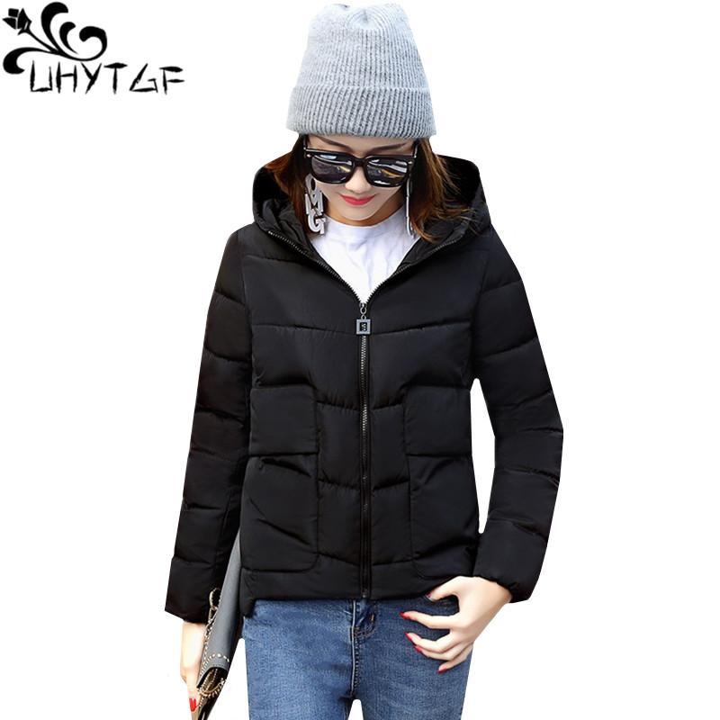 UHYTGF Winter Cotton Women Short Coat Fashion Student Small Cotton Warm Jacket light Down Cotton   parka   Coat women's clothing 632
