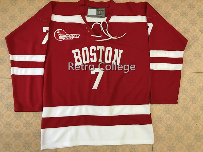 Boston University #7 Charlie McAvoy Red Hockey Jersey Embroidery Stitched Customize any number and name College Jerseys nyc 2015 7 rev 30 s xxl stitched jersey
