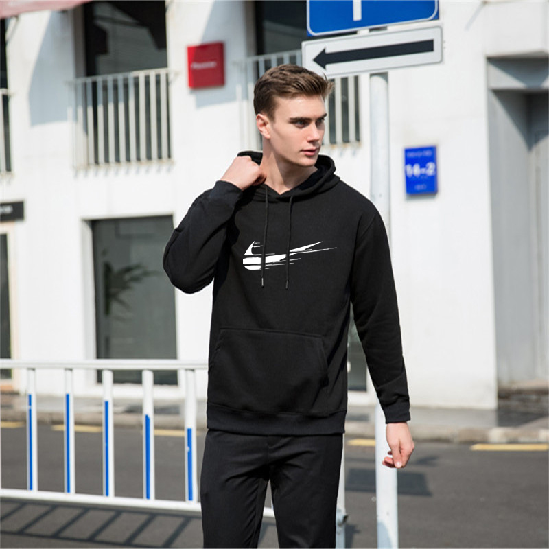 Informal Mens Tracksuit Set Winter Two Piece Units Cotton Fleece Thick Hooded Hoodies+Pants Sporting Go well with Male Trainingspak Units