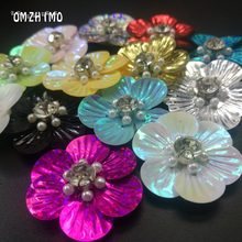 patch flowers for bag shose Handmade Patches crystal rhinestones clothing applique beaded sequins hand sew or glue Stick-on(China)