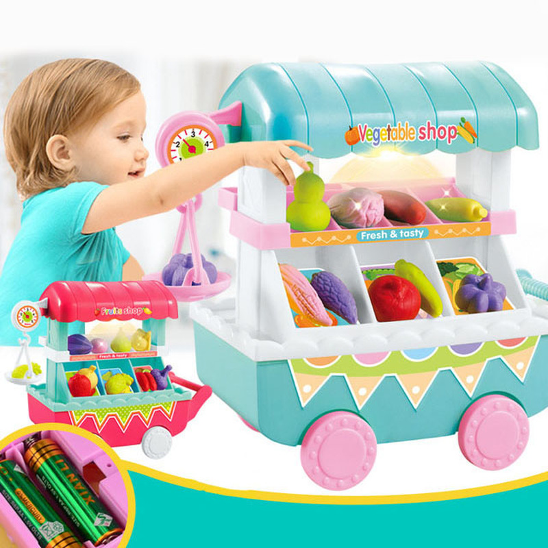 Children's Mini Trolley Light Music Fruit And Vegetable Shopping Cart Girl Play House Kitchen Toys Toy Cart Chrismas Gift