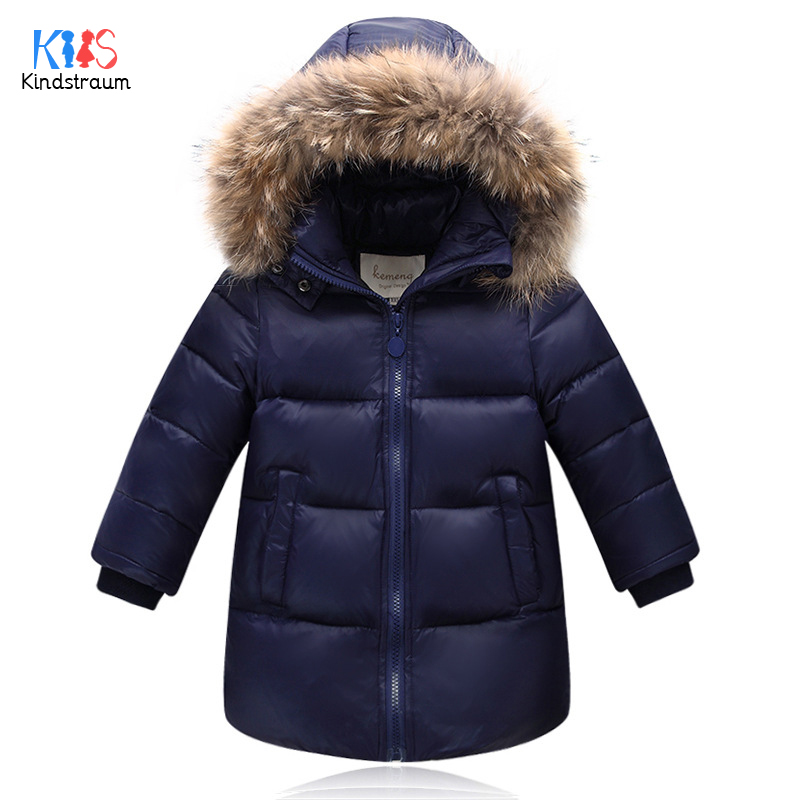 Kindstraum 2018 Boys & Girls Imitation Fur Hooded Parkas Winter Children Thick Down Clothes Fashion Solid Coats for Kids,RC1603 100% white duck down women coat fashion solid hooded fox fur detachable collar winter coats elegant long down coats