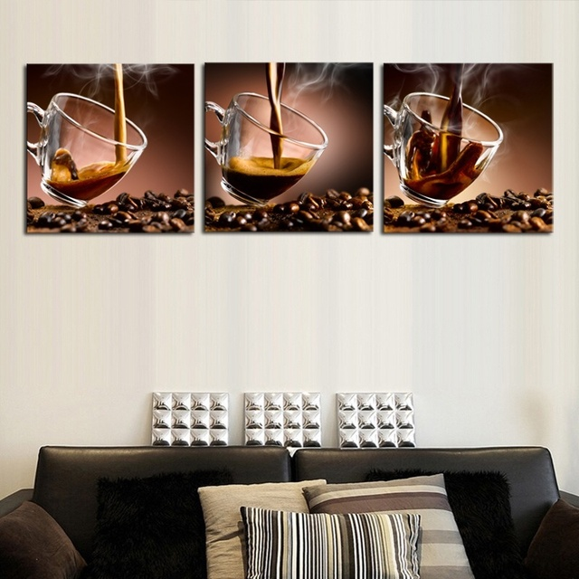Glass Art Wanddecoratie.Us 6 1 Banmu Wall Art Picture Canvas Paintings Wall Decoration Paintings Home Decor 3 Panels Unframed Canvas Photo Prints Coffee Beans In Painting