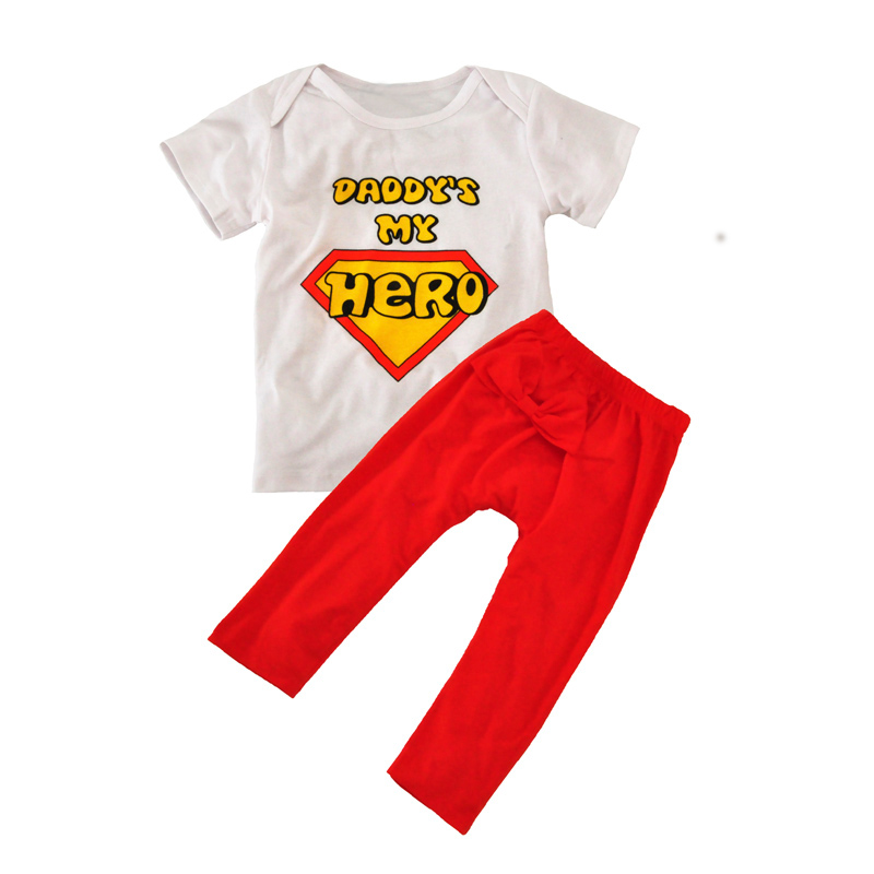 Boy Clothing Sets Cartoon Superman Baby Clothing Set For Girls Boys Summer 2017 Cute Letter T Shirt+Bow Pants 2pcs Kids Clothes