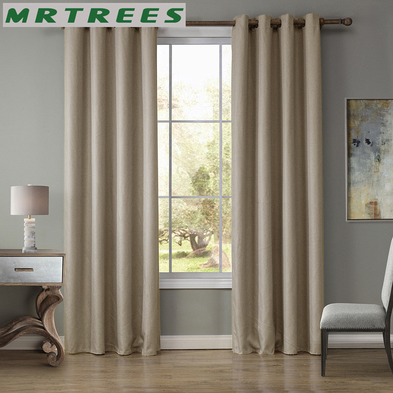 Modern blackout curtains for bedroom solid linen blackout