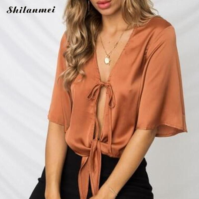 Women silk satin blouse deep V drawstring half sleeve shirts ladies office work elegant reddish orange Top high quality blusa