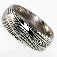 Top Quality Damascus Steel Lines Design Ring Black Dome Tungsten Ring Comfort Fit Design Men S