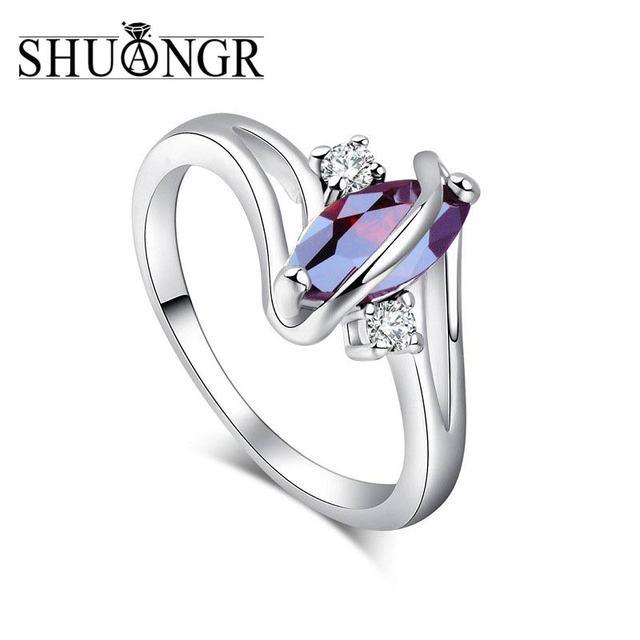 SHUANGR New Fashion Argento-Anello di Colore Rosso Ovale Cubic Zirconia Foglia R