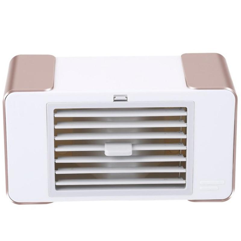 Usb mini ventilador led condicionador de ar portátil desktop refrigerador de ar ventilador verão com lâmpada mesa usb