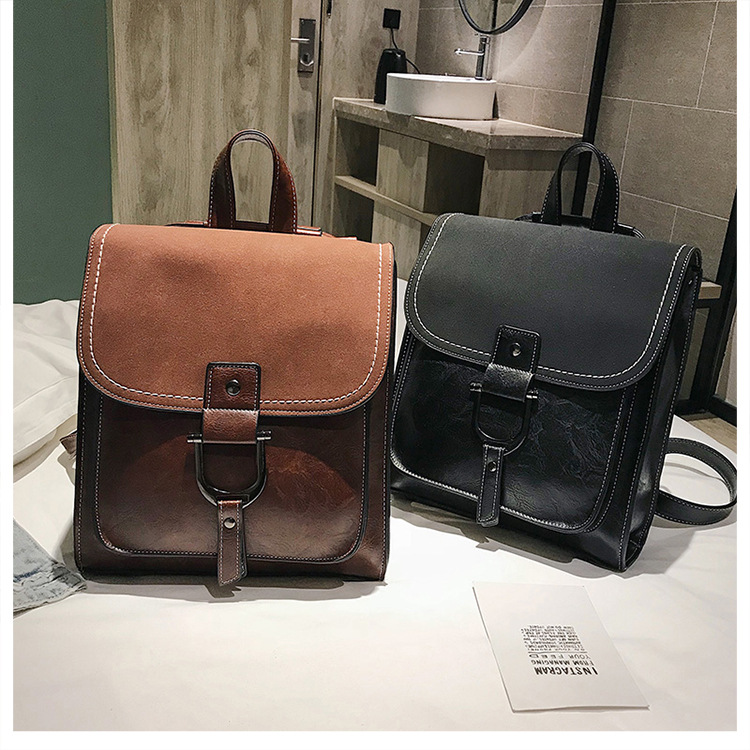 Women's Small Backpack Girl PU Leather Preppy Style School Bag 2019 Fashion Brand Female Vintage Scrub Travel Rucksack for Women (1)