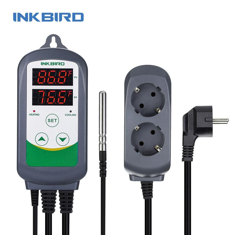 Inkbird ITC-308 régulateur de température à double relais de chauffage et de refroidissement, Carboy, fermenteur, température de Terrarium à effet de serre. Contrôle