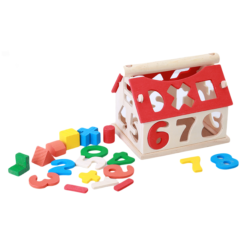 Baby Kids Wooden House Building Blocks Educational Learning Construction Developmental Toy Set High Quality Brain Game Toy