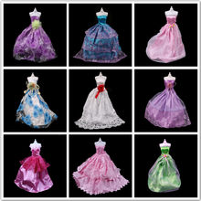 2018 Handmade Layer Party Wedding Dress For Barbie Princess Floor Length Doll Dress Clothing shoes For Barbie(China)