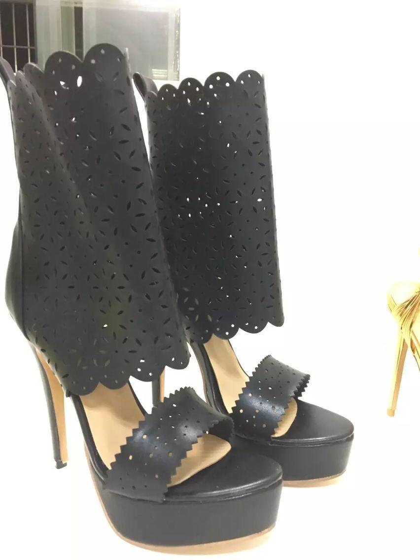 Chic Noir PU En Cuir découpe Mince Talon Plate-Forme Sandales Fantaisie évidé Enveloppe de Cheville À Bout Ouvert Sandale chaussons Sexy DressShoes