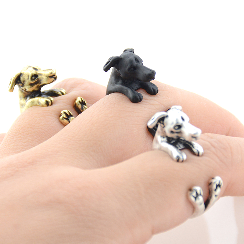 New Style Vintage 3 Colors Punk Greyhound Dog Lover Ring Boho Brass Knuckle Animal Couple Rings For Women Jewelry Men Anel
