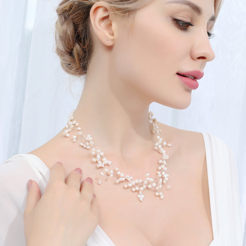 DAIMI Wedding Necklace 4 5mm White Cultured Pearl Handmade Net Necklace Cute Jewelry Best Gift for