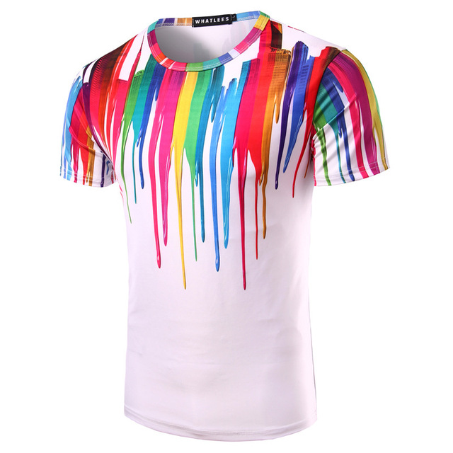 Splash Ink Colorful Print Men T-shirt White Bottoms Slim Fit Short Sleeves  Summer O