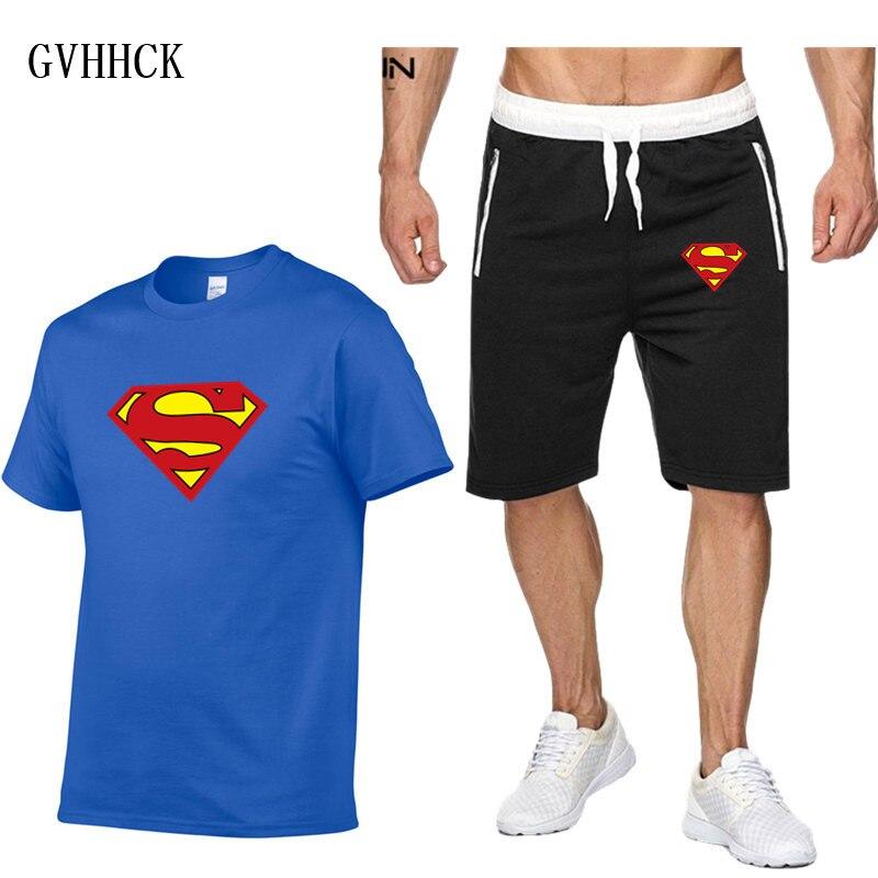 2019 Men Superman T-shirt Shorts Set Men's Suits Summer Breathable Short Set Sportsuits Design Fashion Tracksuit Set Trending