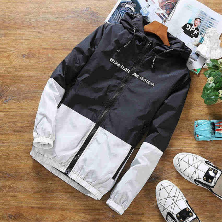 Весна Осень бомбер мужская куртка с капюшоном Повседневная тонкая Лоскутная мужская куртка-ветровка верхняя одежда на молнии тонкое пальто брендовая одежда