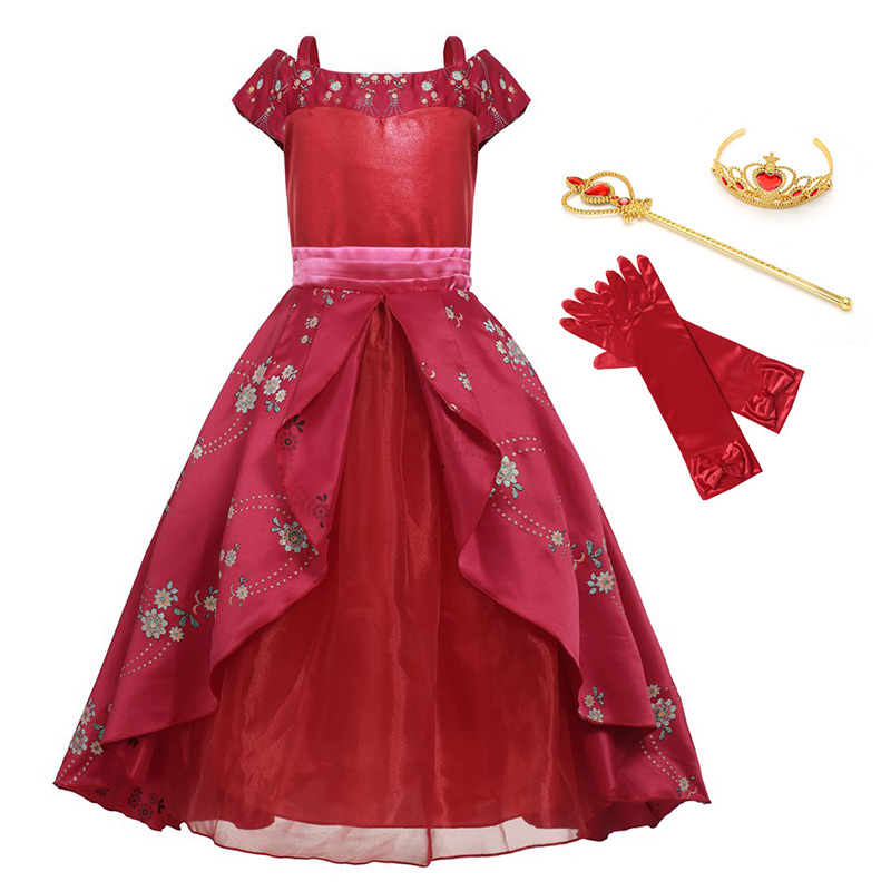 YOFEEL Girls Elena of Fantasy Dresses Summer Princess Avalor Adventure Flower Party Cosplay Costume Children Birthday Red Dress cosplay red