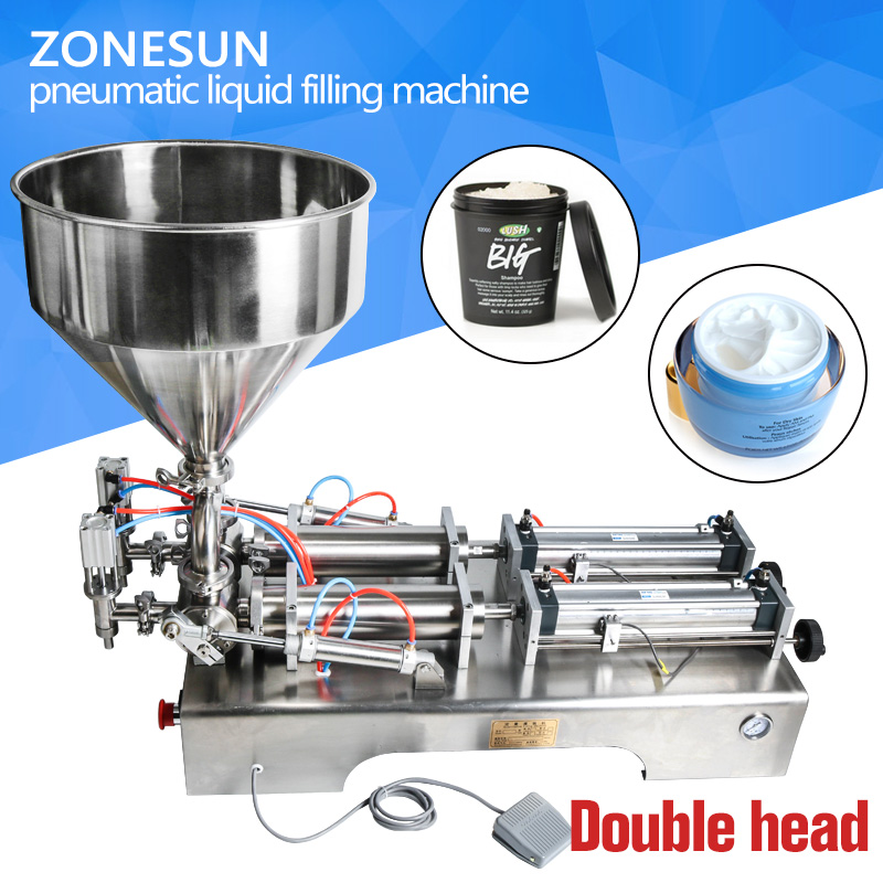 ZONESUN double heads filling machine Automatic pneumatic hopper Cream Shampoo moisturizer lotion Cosmetic oil honey food paste zonesun manual 5 50ml filling cream pharmaceutical cosmetic food pesticide cream paste shampoo cosmetic filler machine