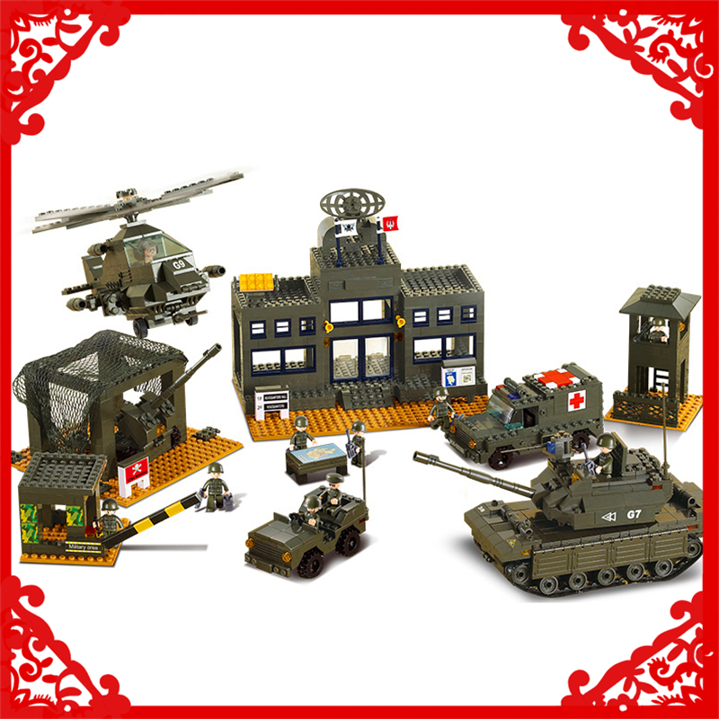SLUBAN 7100 1086Pcs Military Army Headquarters Model Building Block Construction Figure Toys Gift For Children Compatible Legoe lepin 22001 pirate ship imperial warships model building block briks toys gift 1717pcs compatible legoed 10210