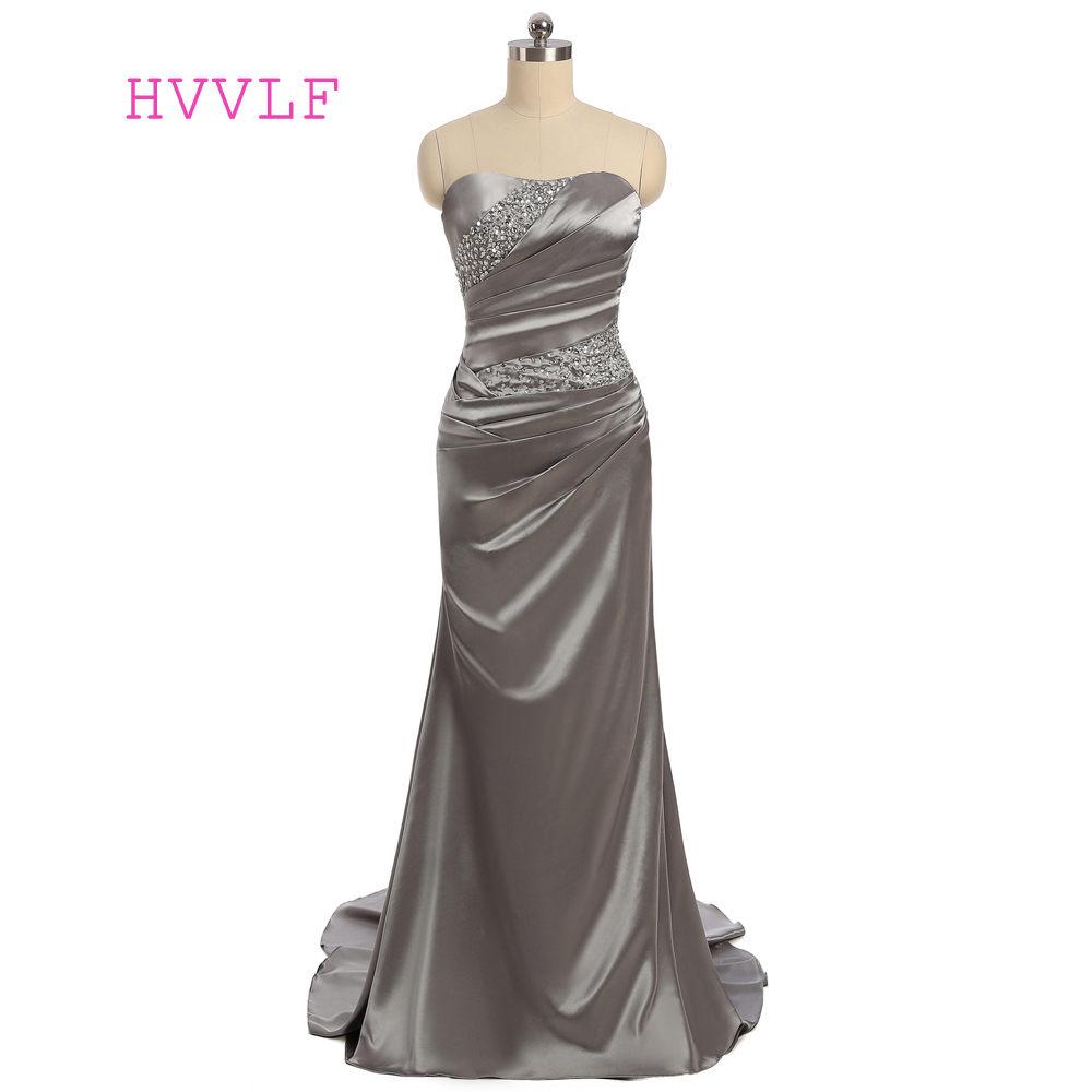Gray 2019   Prom     Dresses   Mermaid Sweetheart Sweep Train Satin Beaded Sexy Long   Prom   Gown Evening   Dresses   Evening Gown
