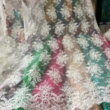 pure manual nail bead wedding gauze cloth embroidery lace dress fabric handmade ivory DIY