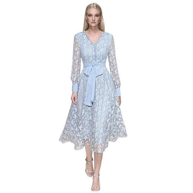 6117af86dc9 2018 autumn women fashion light blue lace dress frill v neck front buttons  tie belt a line long sleeve midi dress shirt dress