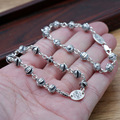 Real Solid 925 Sterling Silver Jewelry Men and Women Beaded Bracelets Cross Chain Vintage Handmade Silver Jewellery