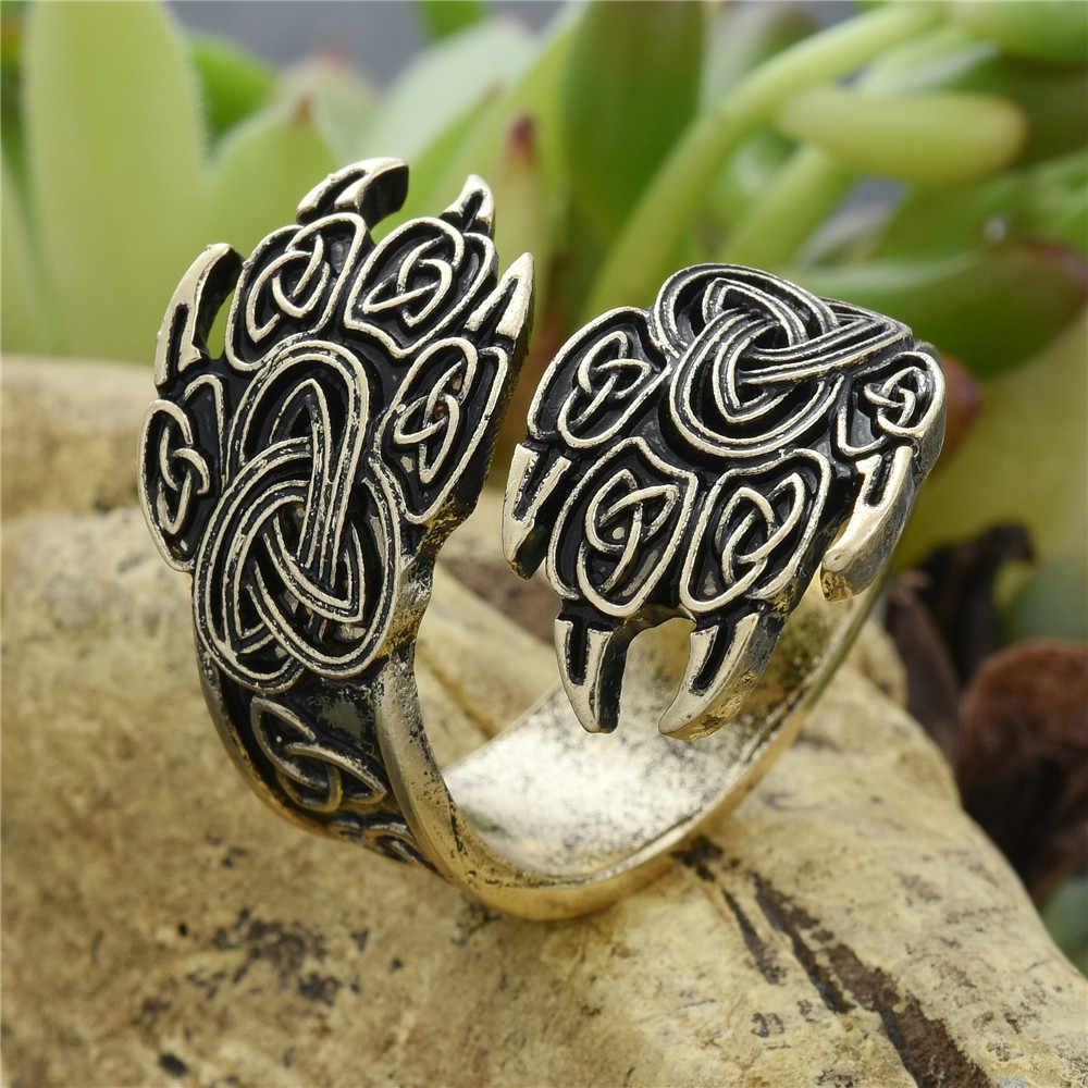 แหวนป้ายพระเจ้าแหวนนอร์ส Knot Anel Slavic vegvizir Man ถัก Signet เครื่องประดับเพื่อนที่ดีที่สุด Drop Shipping
