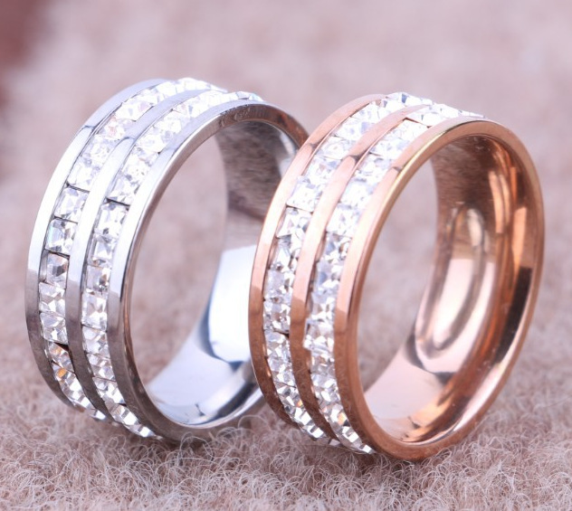 HAOXINDA Jewellery Store Luxury gorgeous CZ rings for women rose gold and silver colors 2 layer rings , crystal wedding rings anillos mujer anel bague