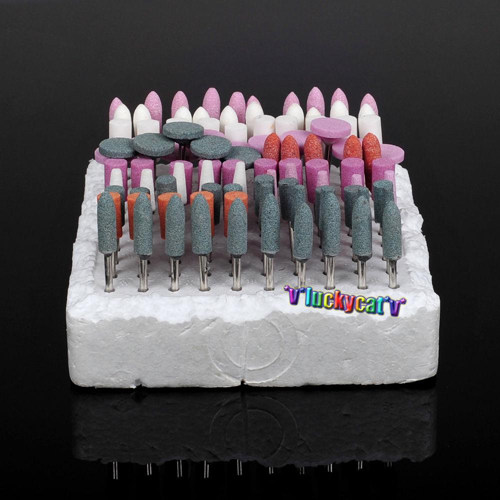 100 PCS Mixed Dental Lab Gravel Ceramic Thick Mounted Point Burs Polisher 2.35mm