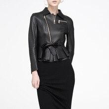 Winter Bomber Genuine Leather Sheepskin Black Jacket Parkas For Womens Basic Fur Coats 2016 Ukraine Manteau Femme Abrigos Mujer