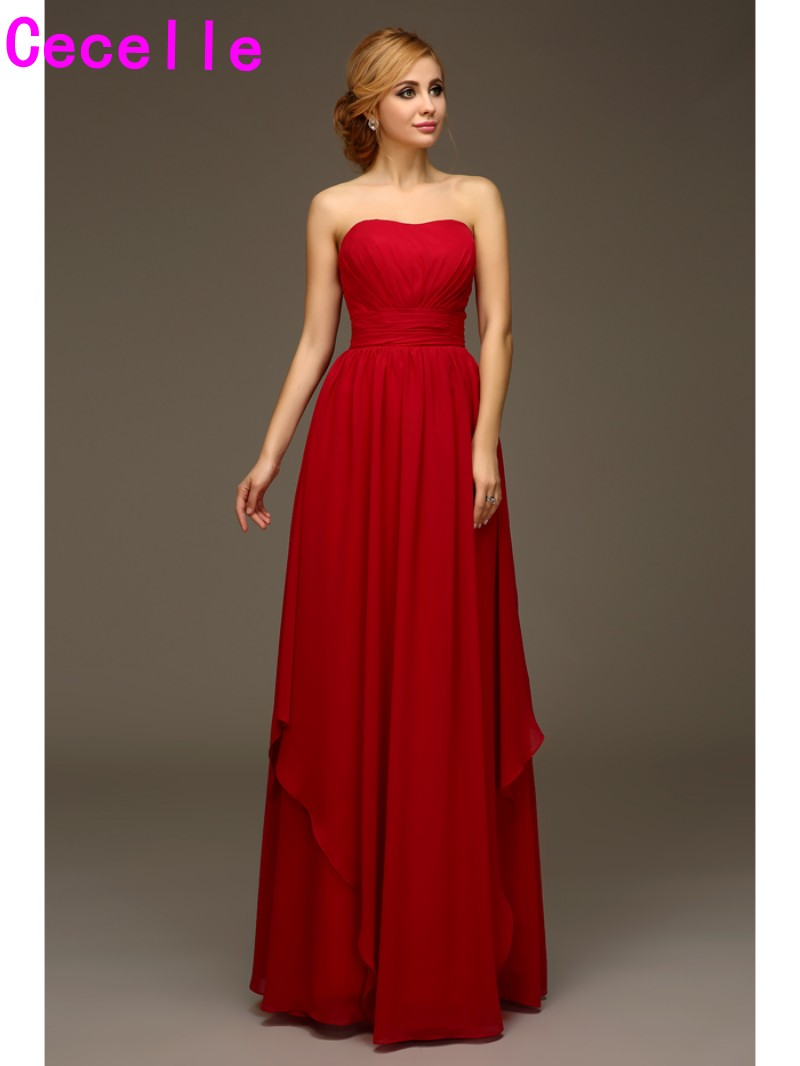 Dark Red Long Formal Bridesmaid Gowns Strapless Chiffon Beach Wedding Party Dresses Summer