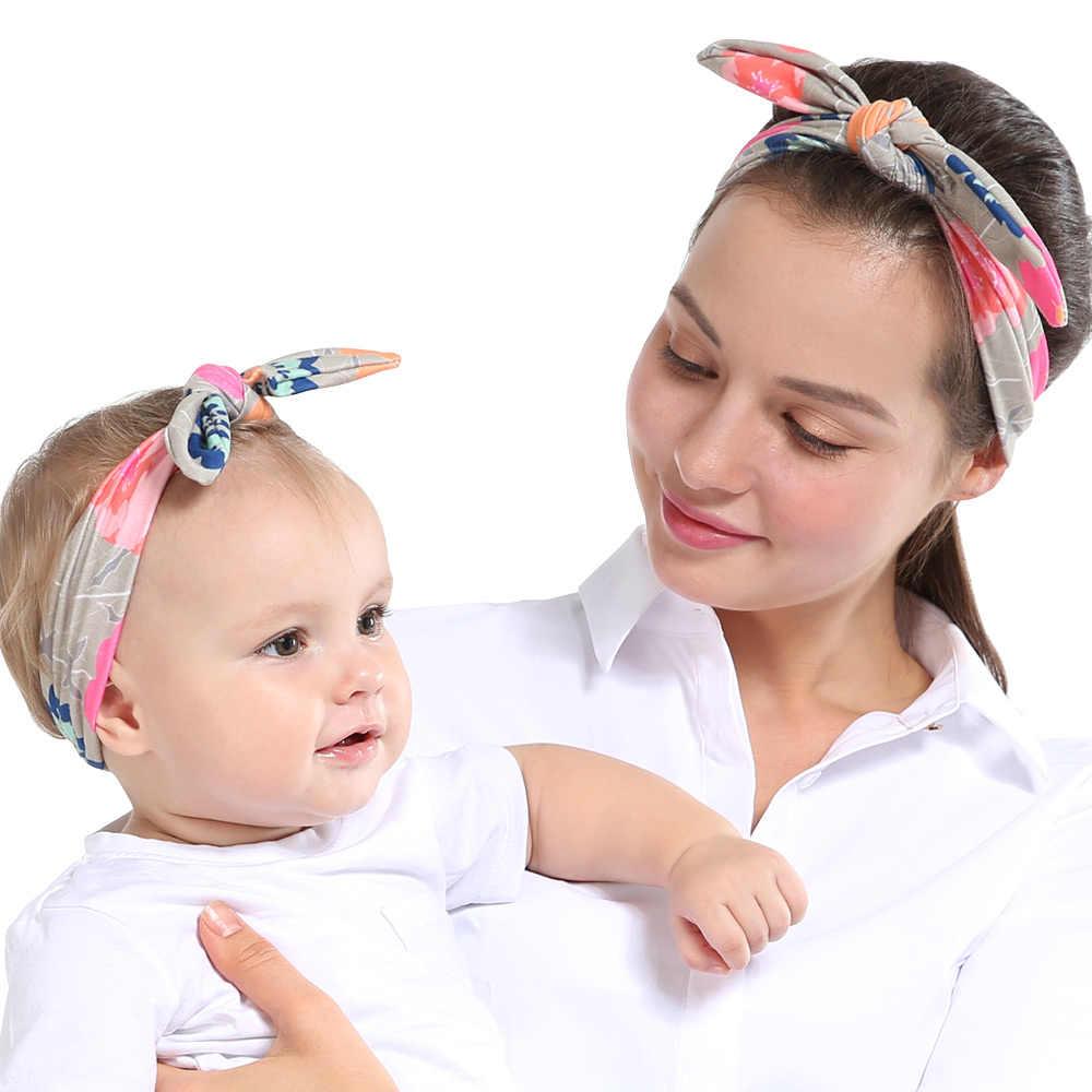 2 יחידות\סט אמא תינוק טורבן אמא ולי התאמת סרט בת אמא ארנב אוזני סרטי ראש פרחוני הדפסת שיער אבזרים