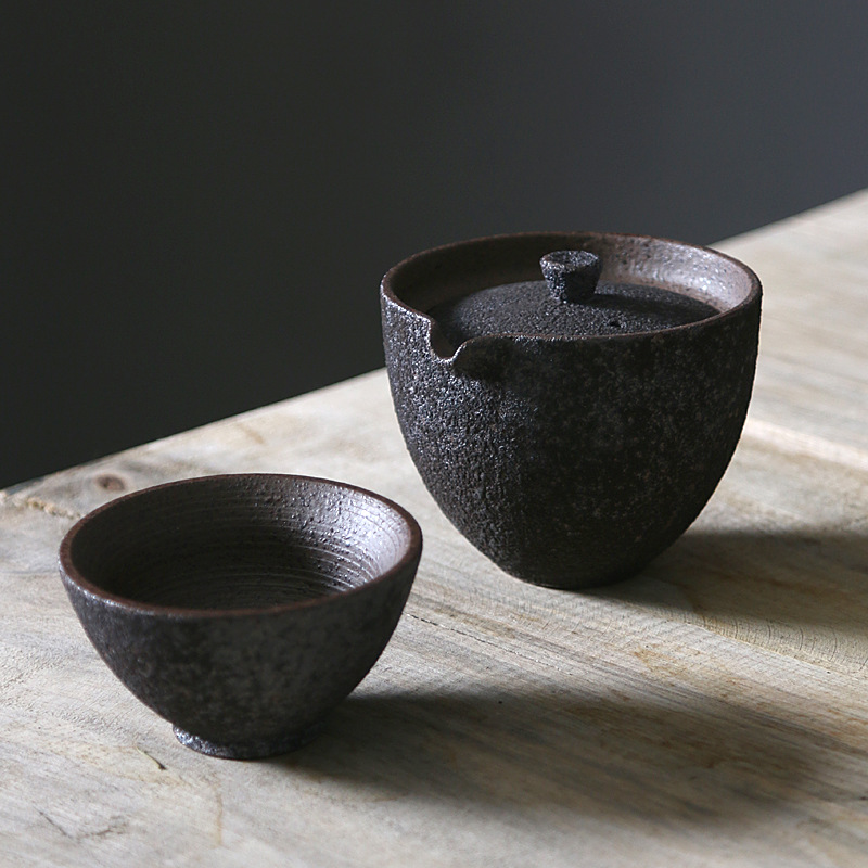 Rust-Glazed Ceramic Portable Gaiwan Tea Set 1