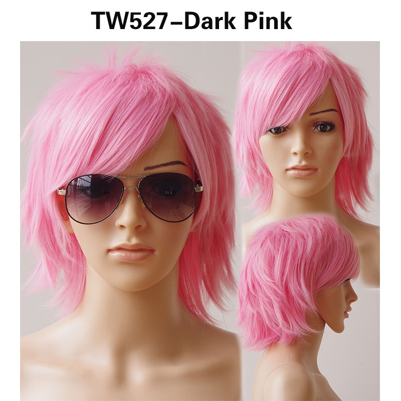SNOILITE 30 см химическое Косплэй короткий парик темно-розовый Хеллоуин костюм вечерние платье парики для Для женщин Для мужчин
