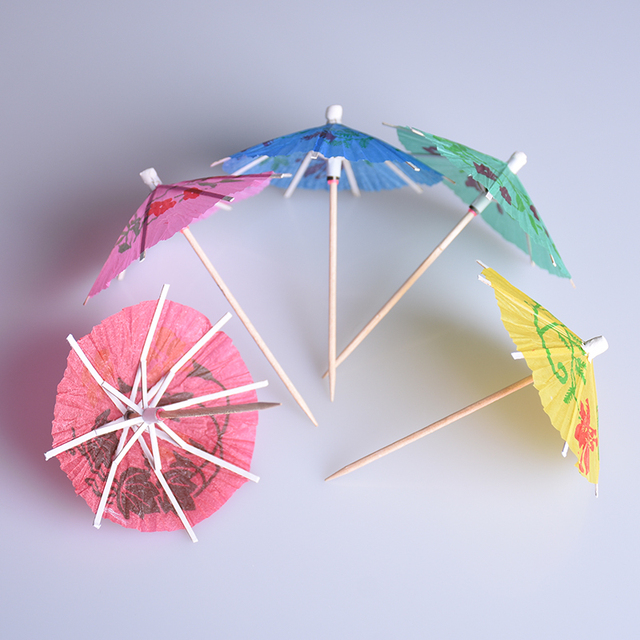 50pcs Lot Creative Mini Paper Umbrellas Toothpick Tail Garland Cake Decoration Drinks Party Xmas Wedding