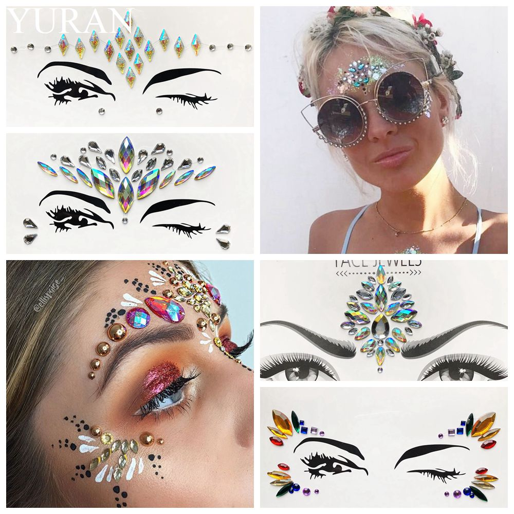 Summer Style Flash Eye Gemstone Temporary Tattoo Stickers