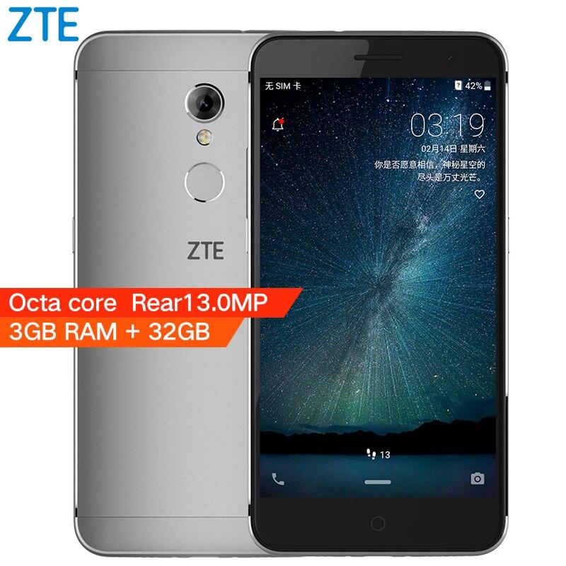 D'origine ZTE Lame A2S Octa Core A2 S 3 GB RAM 32 GB ROM 4G LTE Mobile Cellulaire Téléphone 5.2 HD 13MP Android 6.0 D'empreintes Digitales Double SIM