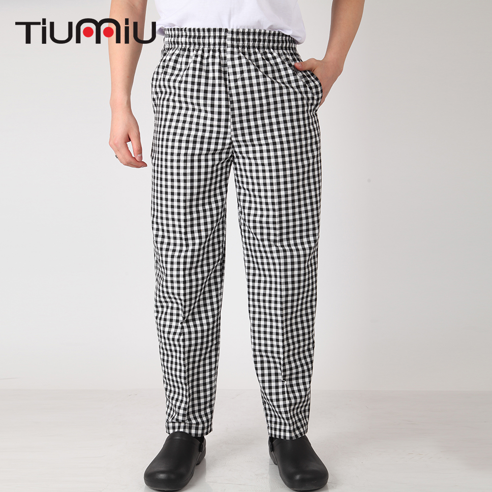 Grid Black Men Wholesale Restaurant Kitchen Food Service Bakery Coffee Shop Canteen Work Wear Pants Waiter Cooker Pants Trousers
