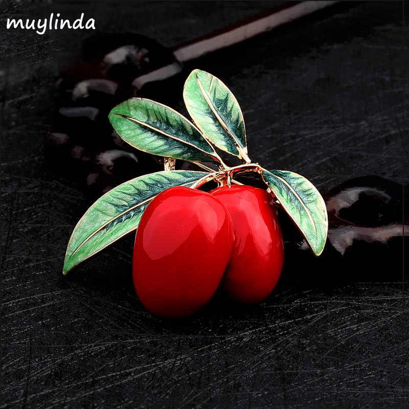 Gadis Fashion Similate Cherry Buah Bros Pin Wanita Kostum Sweater Logam Bros Pakaian Perhiasan