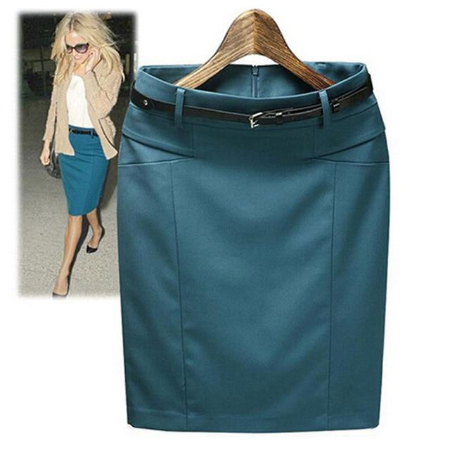 Size S-XXXL 2017 Spring Summer High Waist Slim Straight Knee-Length Bust Skirt Cotton Pencil Skirts Suit Women's Casual Skirts