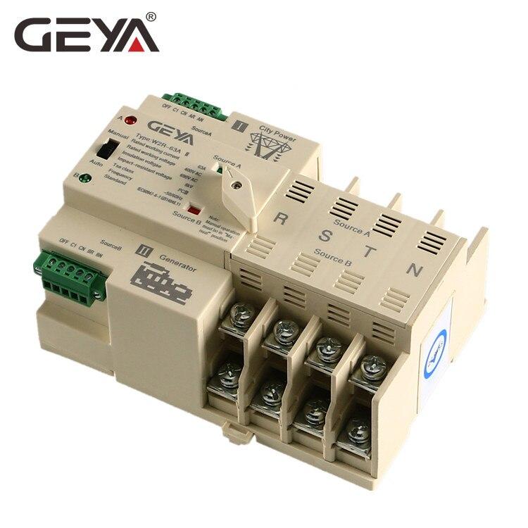 Бесплатная доставка Гея W2R-4P мини ATS автоматический переключатель электрические переключатели Двойной Выключатель питания din-рейку Тип 63A