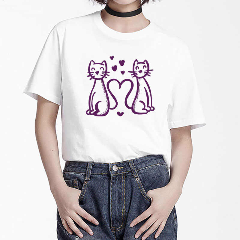 BGtomato คู่แมวคนรัก tshirt shein kawaii camiseta mujer modis เสื้อผ้า streetwear tee เสื้อ femme kawaii t เสื้อ
