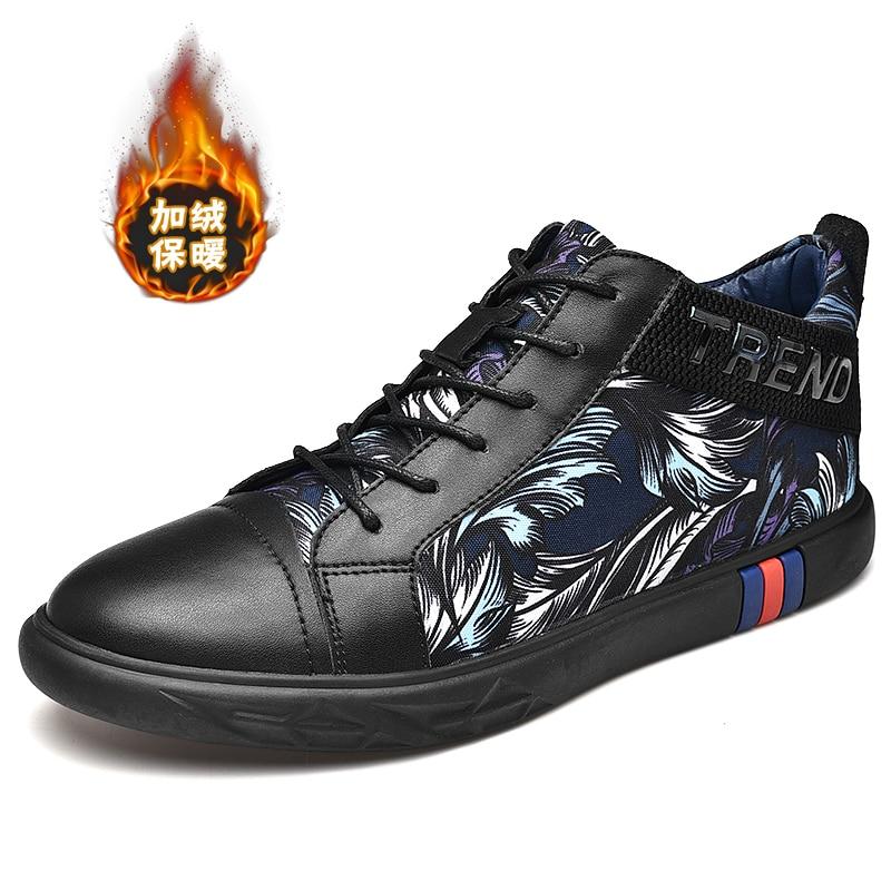 Up Hiver Plat black Skate En Mode De Coton Pour Padded Chaud Appartements Cuir dessus Hommes Toile Automne Cotton Chaussures Haut Rembourré Noir Dentelle Noir Garçons OPnX8wk0
