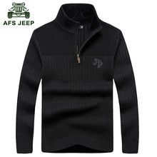 AFS JEEP 2016 Men casual brand winter good quality 100% cotton pullover black sweaters man spring army knit thick sweater S-XXL