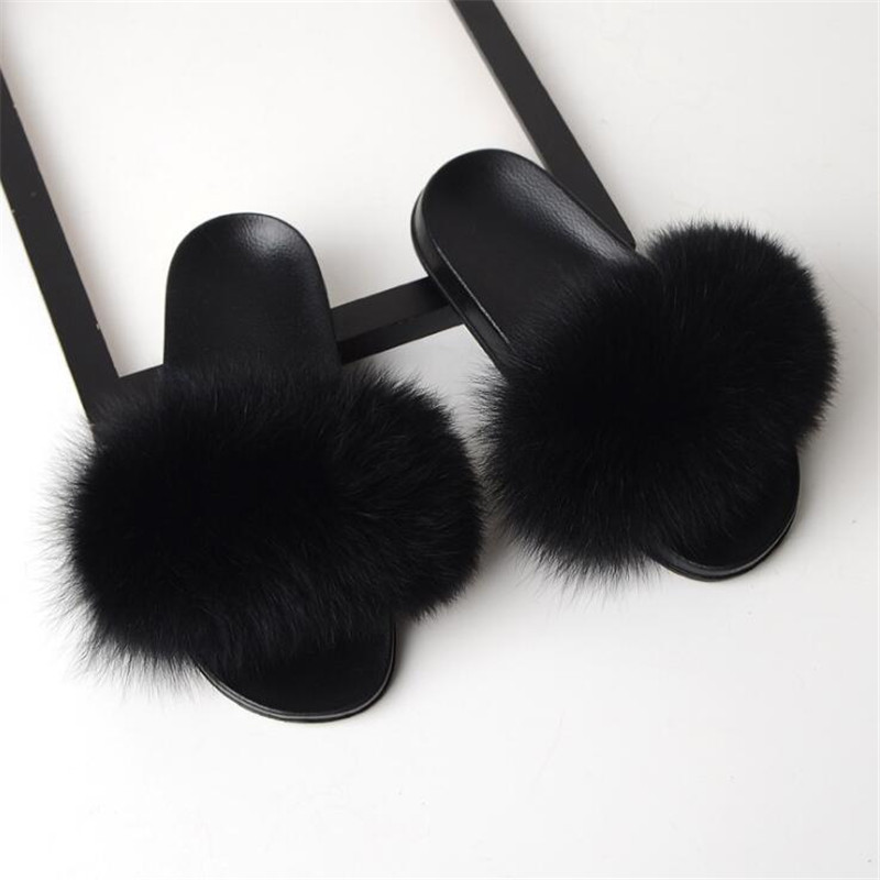 Summer Parent-Child Fox Fur Slippers Unisex Fur Slides Children Furry Slippers Women Fluffy House Shoes Flip Flops Real Fox Fur