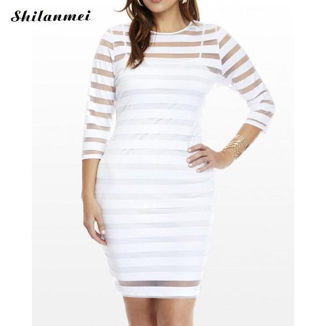 77d47f3b5 € 9.38  Femmes robes d'été 2018 sexy maille Transparente robe de plage à  rayures slim moulante club party robe femme robes de festa dans Robes de ...